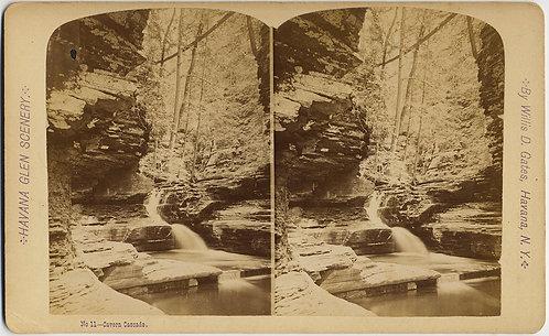 HAVANA GLEN NY #11 Cavern Cascade STEREOVIEW WILLIS D GATES WATERFALL WOODS ROCK
