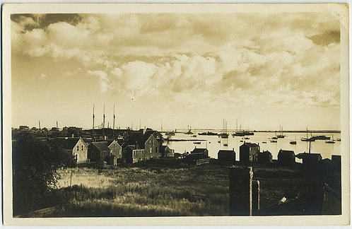 GORGEOUS RPPC SEASIDE FISHING VILLAGE MASSACHUSETTS? SEA CLOUDS SAILBOATS LIGHT