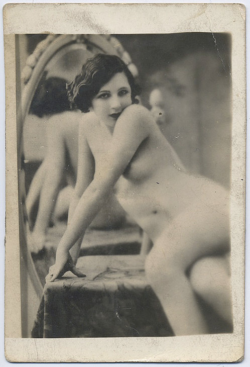 SEXY NUDE NAKED WOMEN poses on TABLE at MIRROR looking COY! RPPC