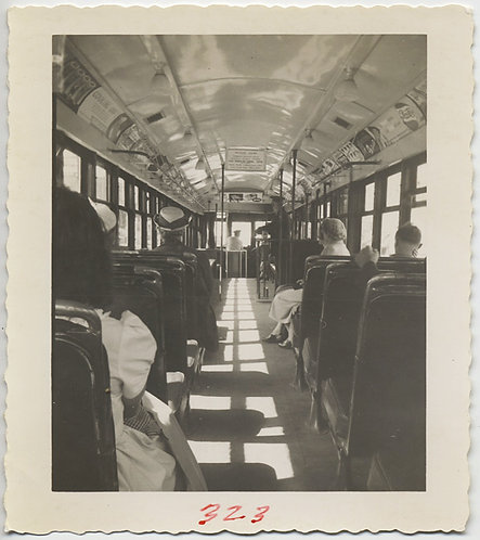SUPERB INTERIOR of VINTAGE STREETCAR w DRIVER SHADOWS WOMEN in HATS