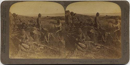 STEREOVIEW BOER WAR BRITISH SOLDIERS REST AFTER BATTLE DRIEFONTEIN
