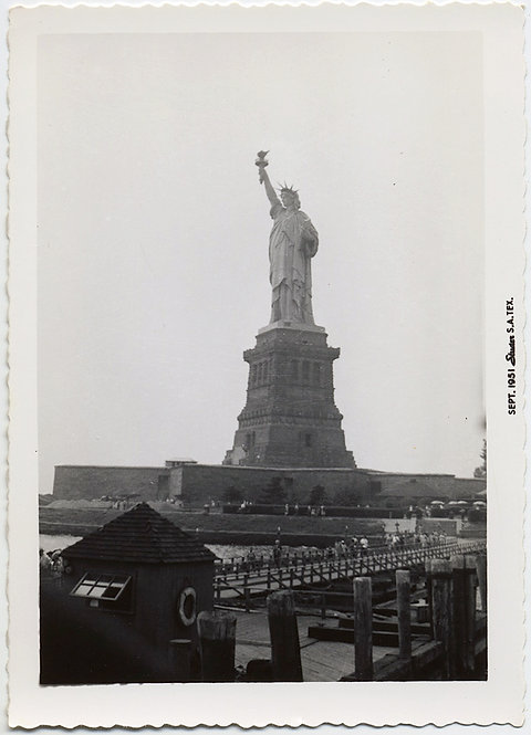 UNUSUAL VANTAGE POINT PIC of STATUE of LIBERTY from UNLOADING DOCK JETTY