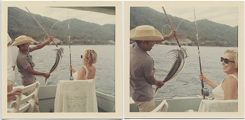 GRINGO WOMAN CATCHES HUGE FISH on BOAT with HELP of CUTE MEXICAN? NATIVE!