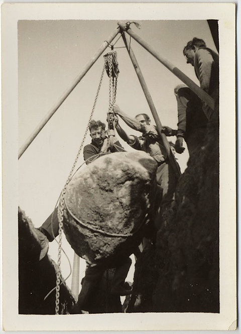 UNUSUAL MEN HOIST ROCK on PULLEY TACKLE CHAINS