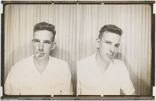 STRIKING HANDSOME SMOKING HOT YOUNG MAN in LARGE DUAL MUTOSCOPE PHOTOBOOTH