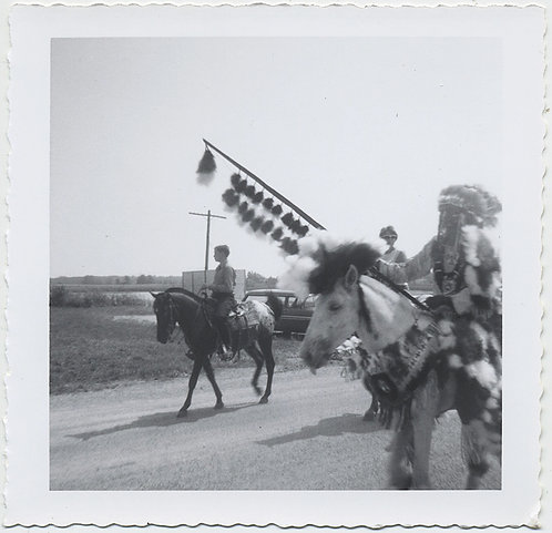 YOUNG BOY on HORSEBACK & NATIVE AMERICAN MAN in CEREMONIAL DRESS w FEATHER STAFF