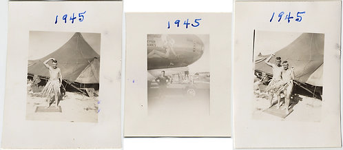 THREE TINY PHOTOS MEN SOLDIER BUDDIES in GRASS SKIRTS BOMBER NOSE ART WWII GAY