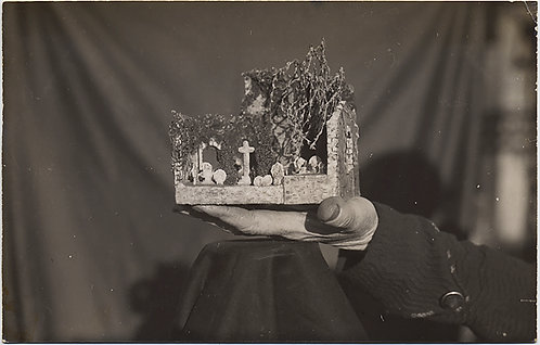 SUPER UNUSUAL RPPC HAND HOLDS MINIATURE SCALE MODEL of GRAVEYARD WEIRD