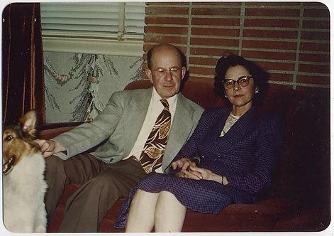 ODD COUPLE MAN OGLES WOMAN WEIRD WINDOW half COLLIE 70s TIE KODACHROME PORTRAIT