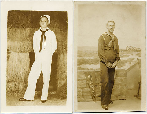 UNUSUAL RPPC TWO HANDSOME SAILORS in STUDIO LONG BEACH STRAW HUT