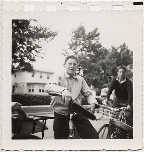 COOL BOYS on BIKES BICYLE CYCLING with SATCHEL PANIERS and QUIZZICAL EXPRESSION!