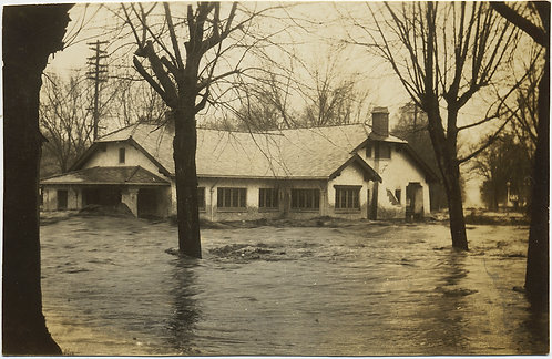 HOUSE INUNDATED by RISING FLOODWATERS TRIMMED RPPC NATURAL DIASTER