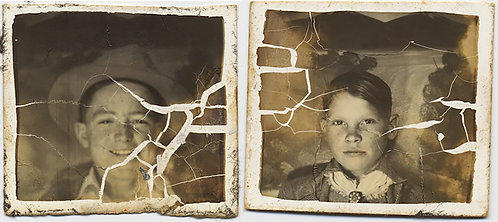 STUNNING DISTRESSED IMAGES CRACKED EMULSION PORTRAIT of TWO CUTE KIDS