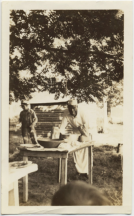 BLACK AFRICAN-AMERICAN ARMY COOK CHEF at OUTDOOR TABLE PICNIC under TREES LOVELY