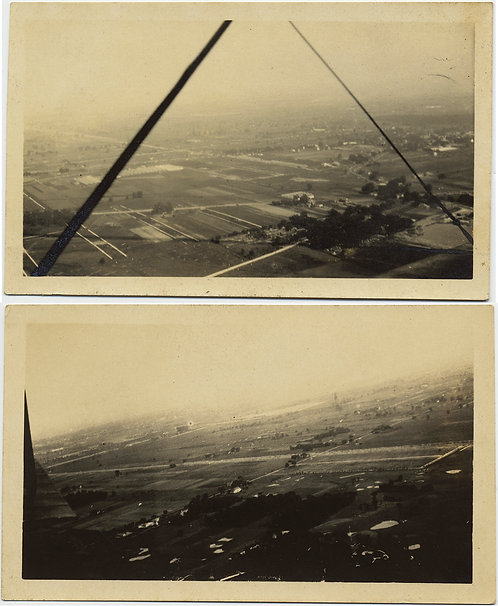 GREAT MIDWEST PLAINS VIEWED fm PLANE BIPLANE STRUTS LANDSCAPE fm AIR UNUSUAL