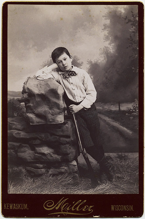 BEAUTIFUL IMAGE of YOUNG BOY w RIFLE looking CONTEMPLATIVE! MILLER Kewaskum, WI