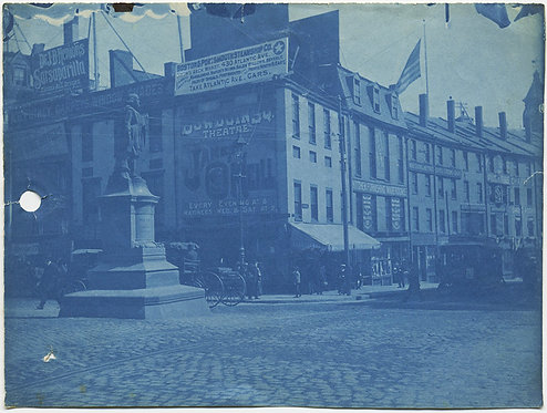 CYANOTYPE of SCOLLAY SQUARE BOSTON w JAMES O'NEILL banner WINTHROP STATUE