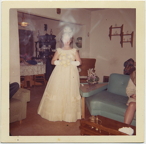 STUNNING BRIDE PROM QUEEN FACE HIDDEN OBSCURED by SMOKE ECTOPLASM VAPOR
