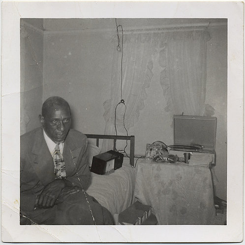 SAD AFRICAN AMERICAN MAN RADIO RECORD PLAYER ROGER BALLEN-esque ELECTRICAL CORDS