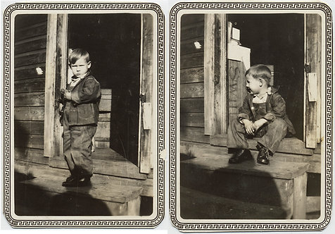 """CHILD LABOR!? CUTE LITTLE BOY in JEANS & OVERALLS POSES w NEW """"Work Shoes"""""""