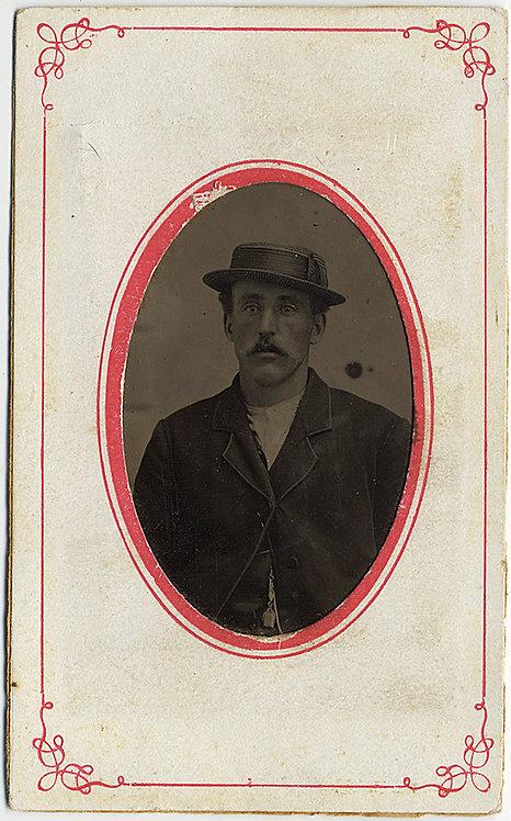 FABULOUS TINTYPE PORTRAIT of MAN in GONDOLIER-type PORKPIE HAT