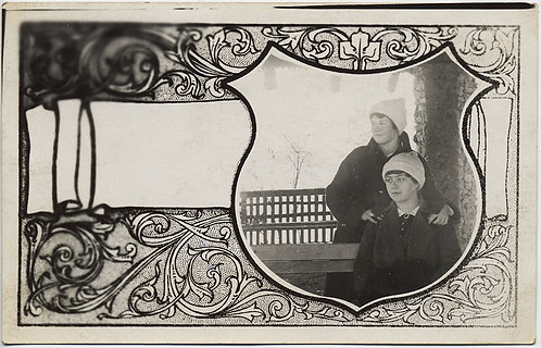 ORNATE BORDERED RPPC w TWO WOMEN in COTH BEANIES HATS