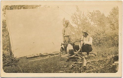 CAMPING MAN and SON at CAMP FIRE with TENT! GORGEOUS TENDER RPPC