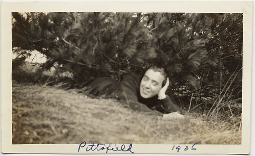 CUTE GUY SHELTERS in PLACE under PINE TREE in PITTSFIELD 1936