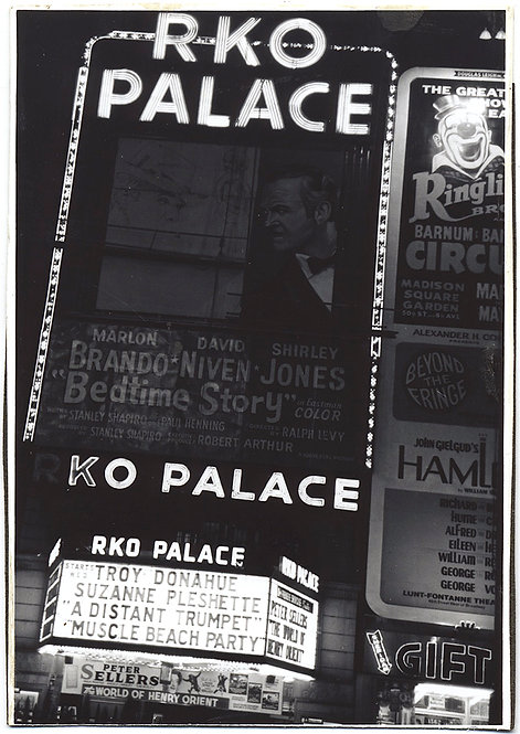 STUNNING ILLUMINATED RKO PALACE THEATRE MOVIE MARQUEE NEON BRANDO PLESHETTE MORE