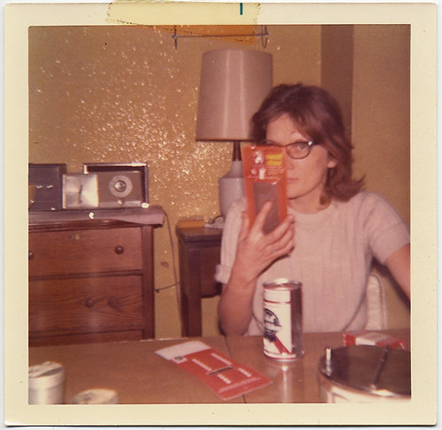 WOMAN HIDES HALF FACE w PRODUCT & PABST BEER & WINSTONS
