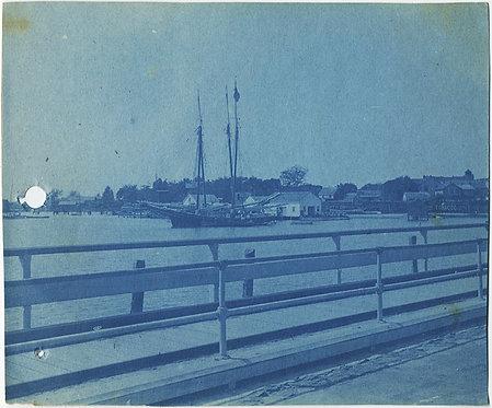 SCHOONER SHIP with MAST in HARBOR at HAMPTON VIRGINIA CYANOTYPE