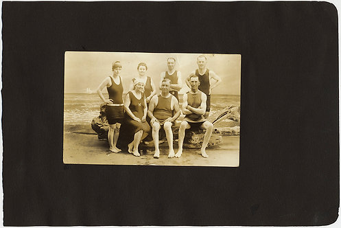 GROUP of SWIMMERS STUDIO VINTAGE BATHING SWIMSUITS album page PIGS DOGS HORSES