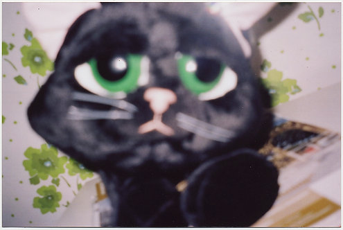 UNHAPPY BLURRY SOFT TOY KITTY CAT w HUGE EYES MARIMEKKO? FABRIC
