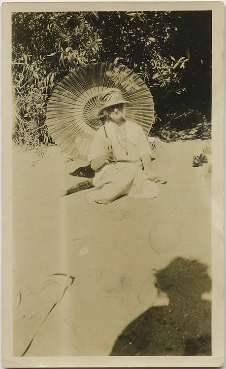 WOMAN with JAPANESE PARASOL & great SHADOW!