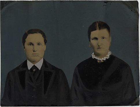 WONDERFUL FOLK ART FULL PLATE PAINTED TINTYPE PORTRAIT 2 DOUR WOMEN SISTERS?