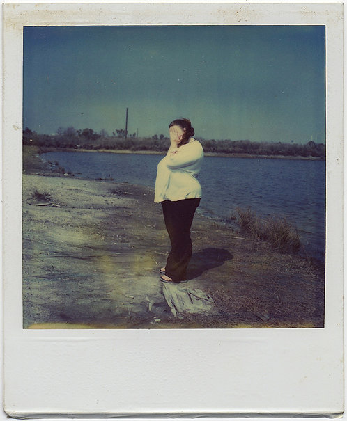 SUPERB WOMAN COVERS HIDES FACE w HANDS in INDUSTRIAL RIVER WASTELAND POLAROID