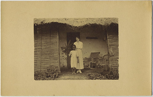 RPPC COLONIALISM WHITE WOMAN POSES with BLACK AFRICAN CHILD RPPC