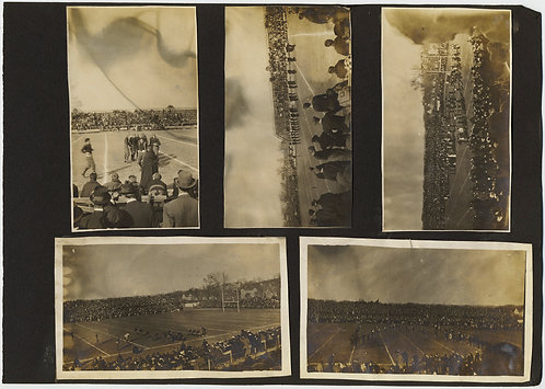 INTERESTING ALBUM PAGE EARLY COLLEGE FOOTBALL GAME CROWDS PLAYERS MARCHING BAND