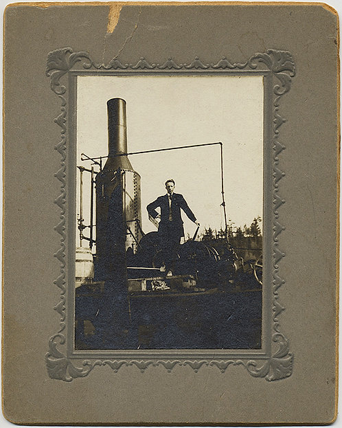 MAN POSES by EARLY INDUSTRIAL STEAM ENGINE! Card MOUNTED
