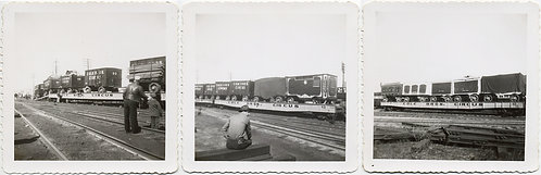 COLE BROS CIRCUS TRAIN WORKERS WATCH ROLLING STOCK w WAGONS ROLL BY! 3 pics