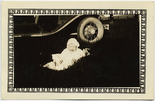 STARK & BEAUTIFUL! Hi-CONTRAST BABY on GRASS in front of VINTAGE CAR!