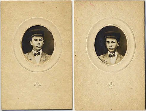 """CUTE """"Penny Portraits"""" YOUNG BOY Raymond Currier CAP & BOW TIE REVERSED? IMAGES"""