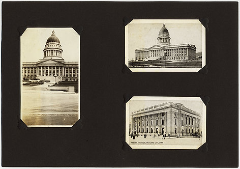 DOUBLE SIDED ALBUM PAGE w UTAH STATE CAPITOL BLDG SALT LAKE CITY FED BLDG MORMON