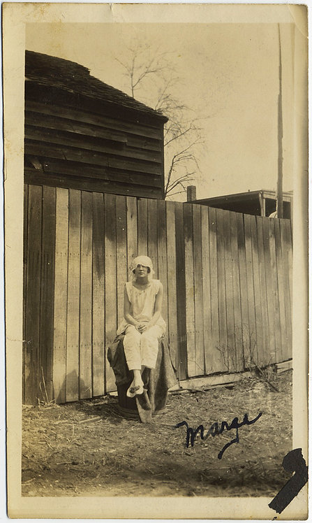 MAD MARGE in CAP NIGHTGOWN DRESS over BARRELL in FENCED IN BACKYARD Naughty