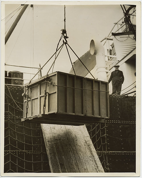 PRESS PHOTO SUPERB INDUSTRIAL MODERNISM MAN WATCHES BOX being HAULED ABOARD SHIP