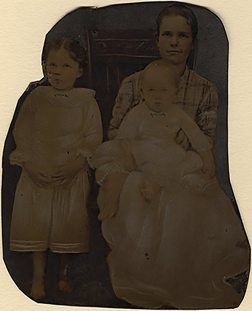 IRREGULARLY TRIMMED PAINTED FULL PLATE TINTYPE YOUNG MOTHER & CHILDREN