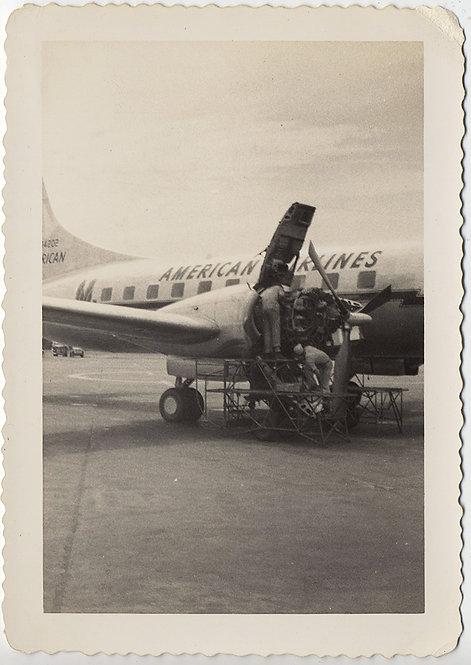 VINTAGE AIRLINE MECHANICS SERVICE PROPELLER ENGINE AMERICAN AIRLINES PLANE