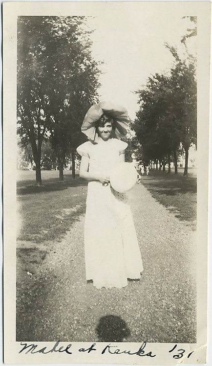 MABEL with HER BIG FLOPPY HAT HOLDS MYSTERIOUS BALL at KEUKA 1931