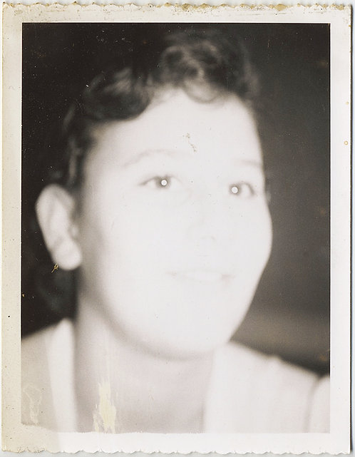 FLASH OBLITERATES almost ALL FACIAL FEATURES of WOMAN in POLAROID