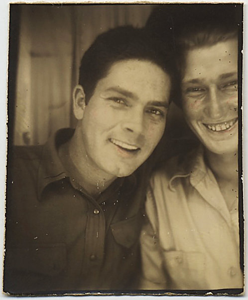 HANDSOME AFFECTIONATE MEN in SMILING HAPPY PHOTOBOOTH
